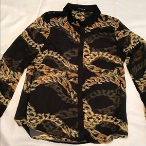 Forever 21 Sheer Black Gold Chain Link Button Down